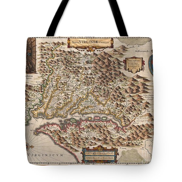1630 Hondius Map Of Virginia And The Chesapeake Tote Bag by Paul Fearn