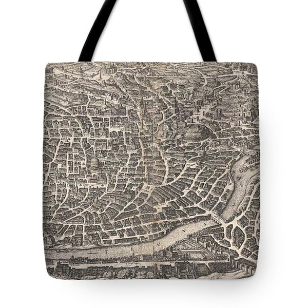 1652 Merian Panoramic View Or Map Of Rome Italy Tote Bag by Paul Fearn