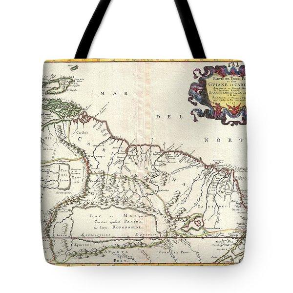 1656 Sanson Map Of Guiana Venezuela And El Dorado Tote Bag by Paul Fearn