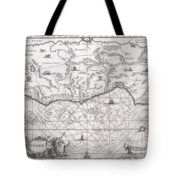 1670 Ogilby Map Of West Africa  Gold Coast Slave Coast Ivory Coast Tote Bag by Paul Fearn