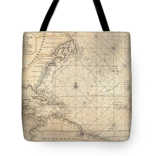 1683 Mortier Map Of North America The West Indies And The Atlantic Ocean  Tote Bag