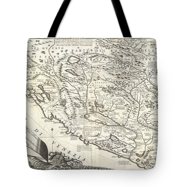 1690 Coronelli Map Of Montenegro Tote Bag by Paul Fearn