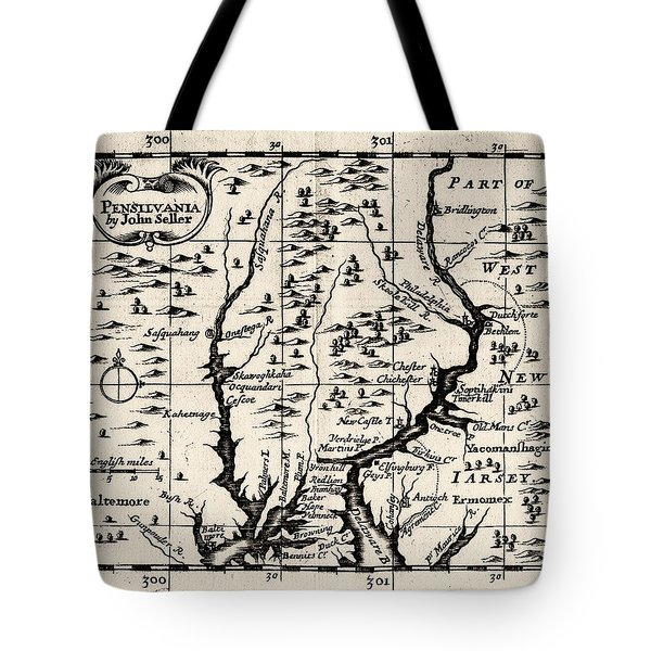 1690 Pennsylvania Map Tote Bag by Bill Cannon