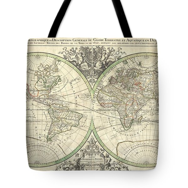 1691 Sanson Map Of The World On Hemisphere Projection Tote Bag