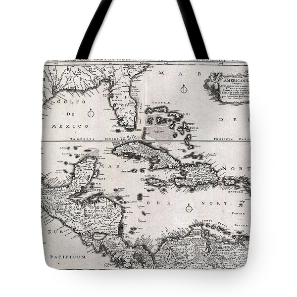 1696 Danckerts Map Of Florida The West Indies And The Caribbean Tote Bag by Paul Fearn