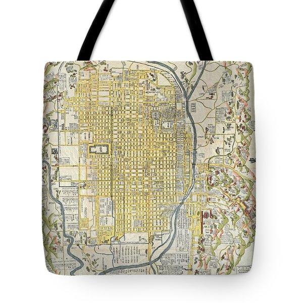 1696 Genroku 9 Early Edo Japanese Map Of Kyoto Japan Tote Bag
