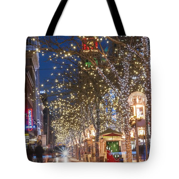 16th Street Mall In Denver Holiday Time Tote Bag