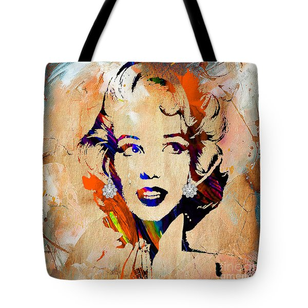 Marilyn Monroe Diamond Earring Collection Tote Bag by Marvin Blaine