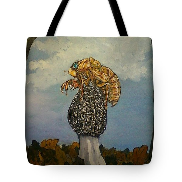 17 Year Cicada With Morel Tote Bag by Alexandria Weaselwise Busen