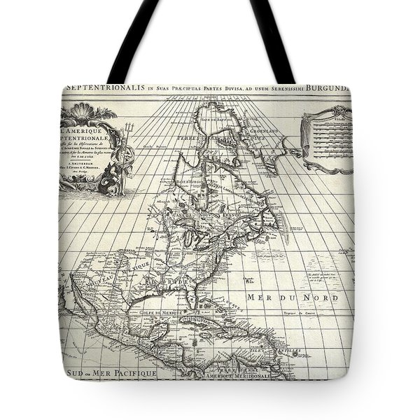 1708 De Lisle Map Of North America Tote Bag by Paul Fearn