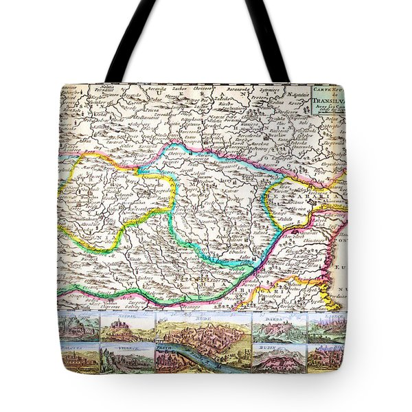 1710 De La Feuille Map Of Transylvania And Moldova Tote Bag