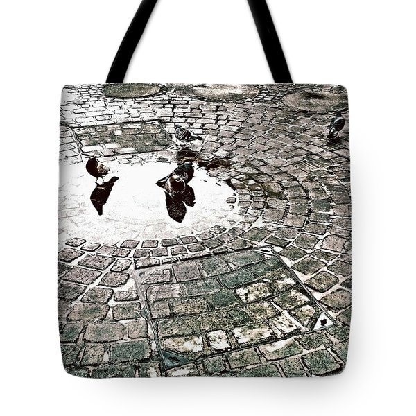 Pigeons In A Puddle Tote Bag