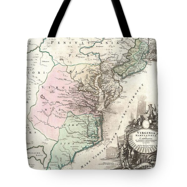 1715 Homann Map Of Carolina Virginia Maryland And New Jersey Tote Bag by Paul Fearn