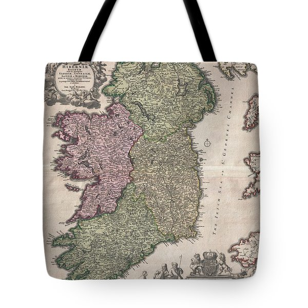 1716 Homann Map Of Ireland Tote Bag by Paul Fearn