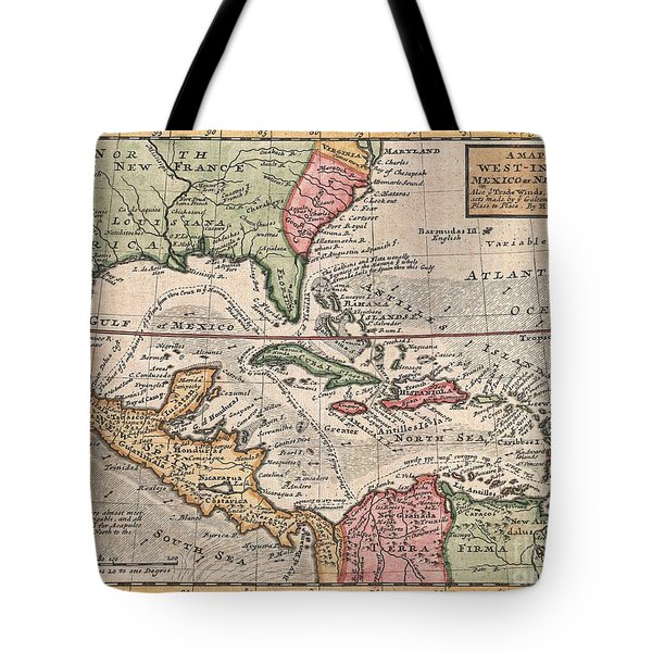 1732 Herman Moll Map Of The West Indies And Caribbean Tote Bag