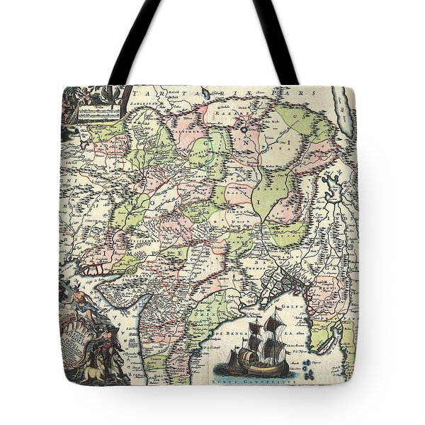 1740 Seutter Map Of India Pakistan Tibet And Afghanistan Tote Bag by Paul Fearn