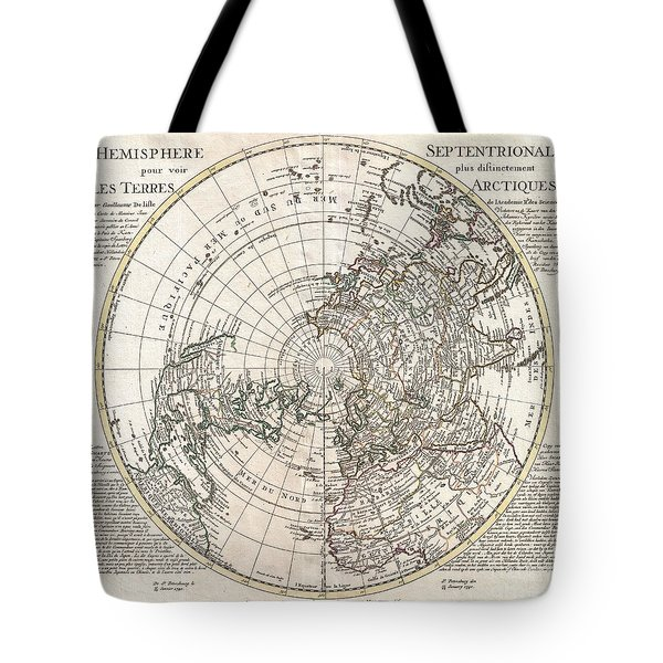 1741 Covens And Mortier Map Of The Northern Hemisphere  North Pole Arctic Tote Bag by Paul Fearn