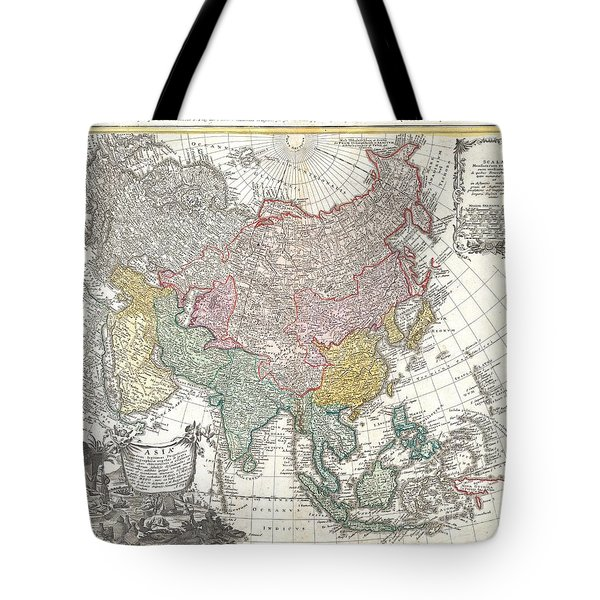 1744 Homann Heirs Map Of Asia  Tote Bag