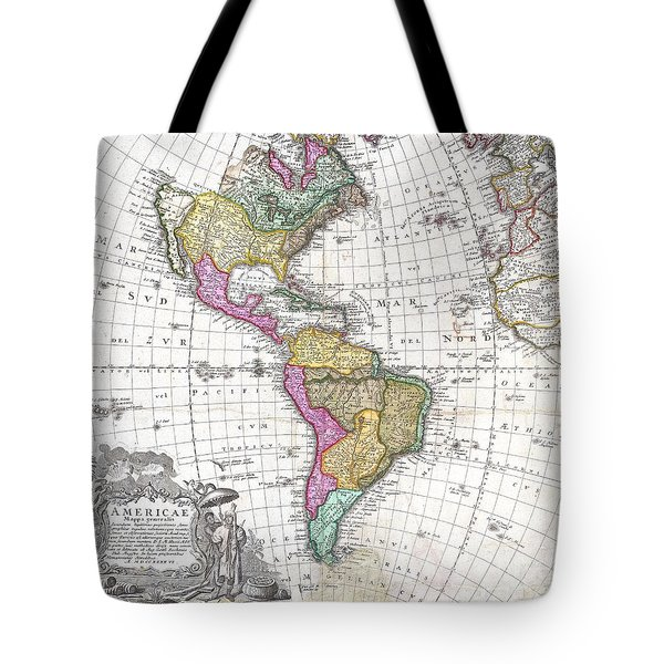 1746 Homann Heirs Map Of South And North America Tote Bag by Paul Fearn