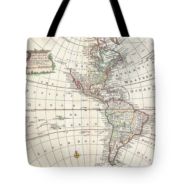 1747 Bowen Map Of North America And South America Tote Bag by Paul Fearn