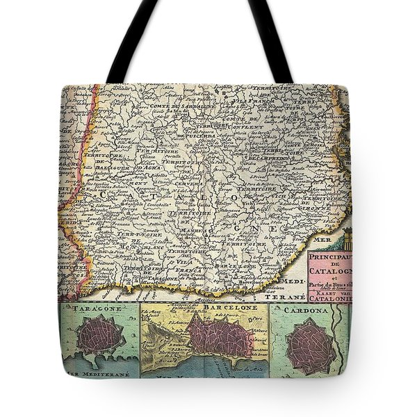 1747 La Feuille Map Of Catalonia Spain Tote Bag by Paul Fearn