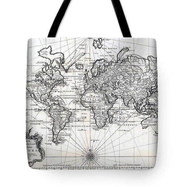 Tote Bag featuring the photograph 1748 Antique World Map Versuch Von Einer Kurzgefassten Karte  by Karon Melillo DeVega
