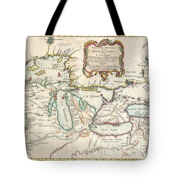 1755 Bellin Map Of The Great Lakes Tote Bag