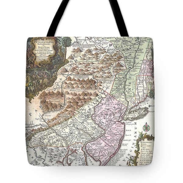 1756 Lotter Map Of Pennsylvania New Jersey And New York Tote Bag