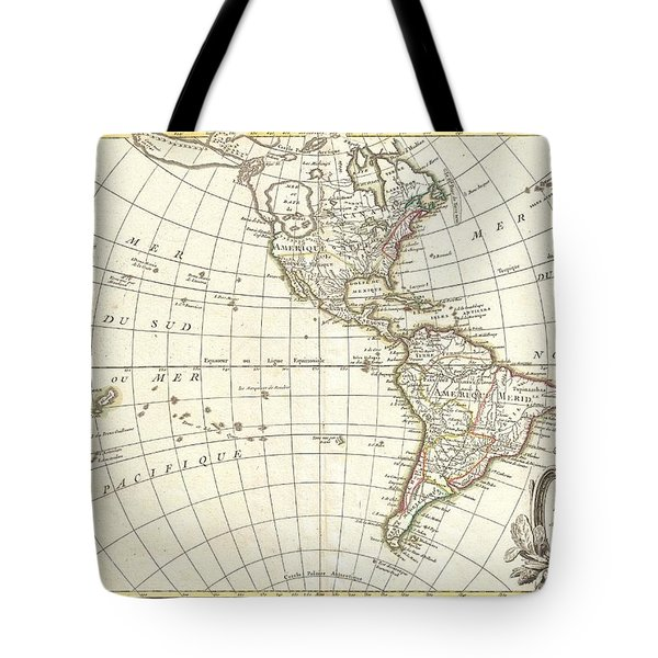 1762 Janvier Map Of North America And South America  Tote Bag by Paul Fearn