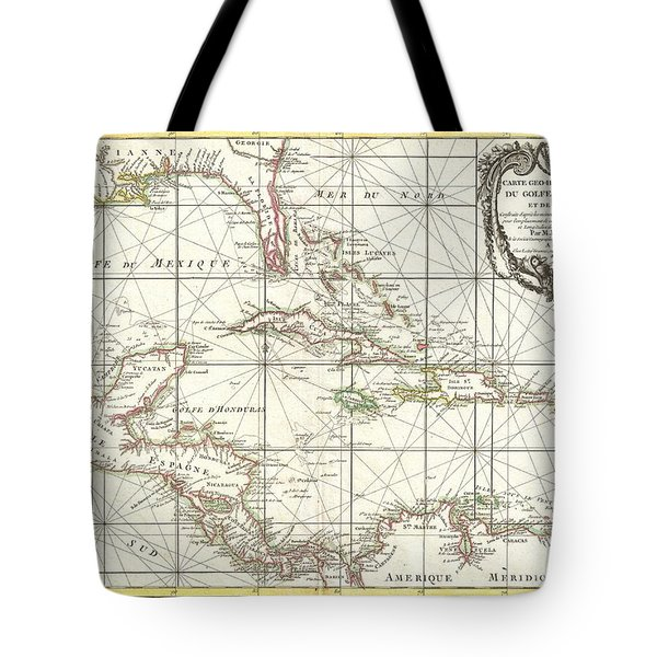 1762 Zannoni Map Of Central America And The West Indies Tote Bag