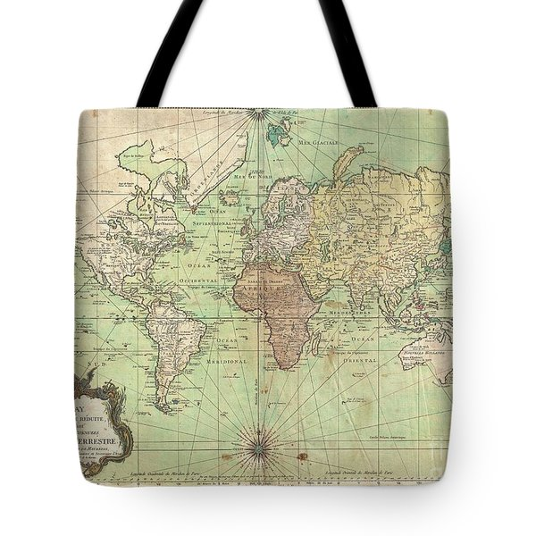 1778 Bellin Nautical Chart Or Map Of The World Tote Bag