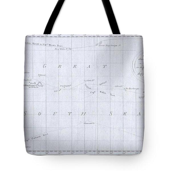 1780 Cook  Hogg Map Of Tahiti  Tote Bag