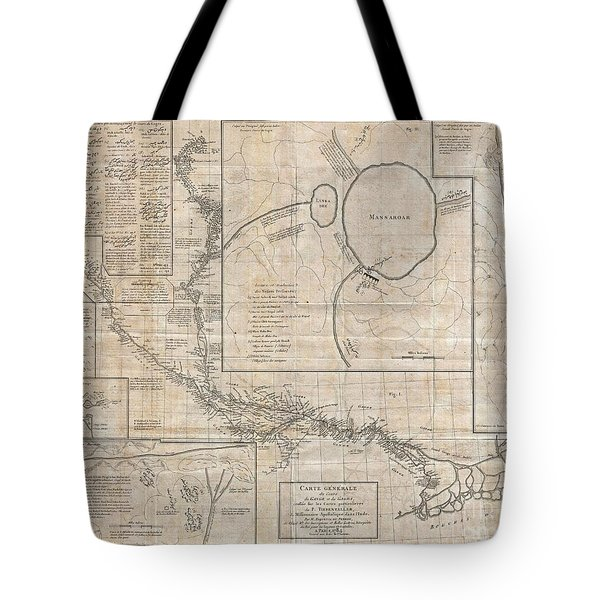 1784 Tiefenthaler Map Of The Ganges And Ghaghara Rivers India Tote Bag by Paul Fearn