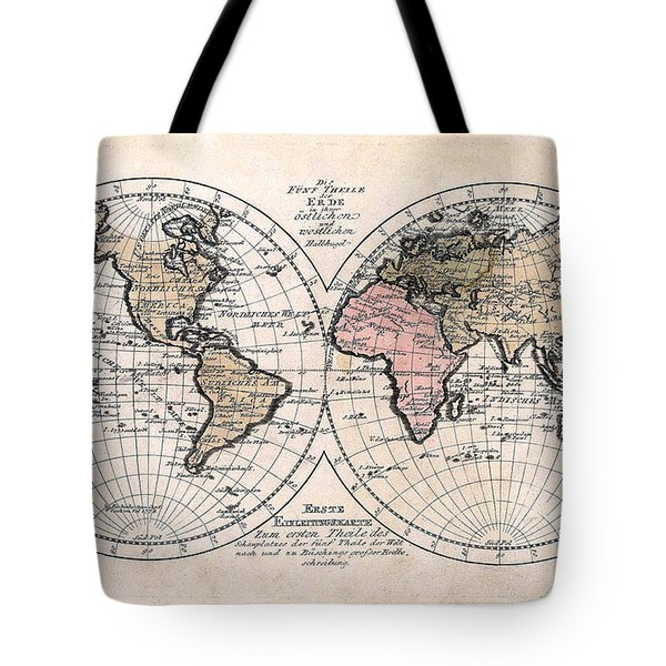 Tote Bag featuring the photograph 1791 Antique World Map Die Funf Theile Der Erde by Karon Melillo DeVega
