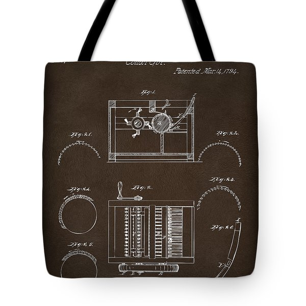 Tote Bag featuring the drawing 1794 Eli Whitney Cotton Gin Patent Espresso by Nikki Marie Smith