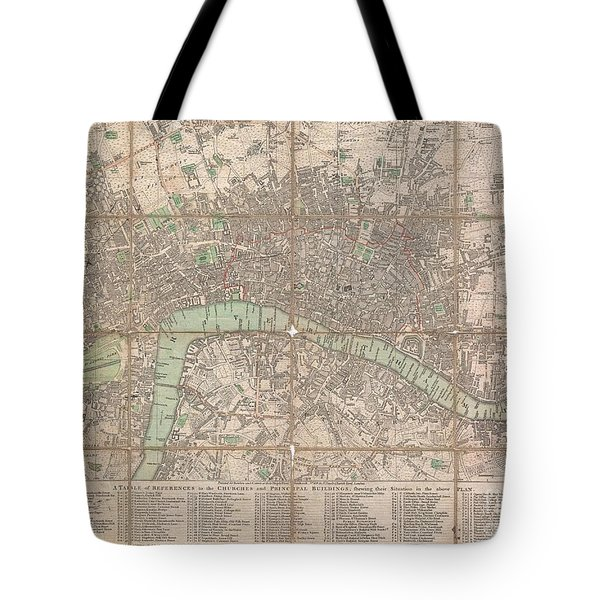 1795 Bowles Pocket Map Of London Tote Bag by Paul Fearn