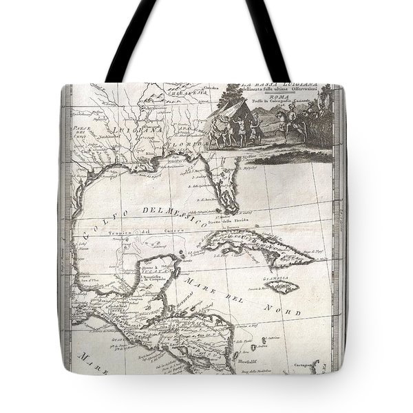 1798 Cassini Map Of Florida Louisiana Cuba And Central America Tote Bag by Paul Fearn