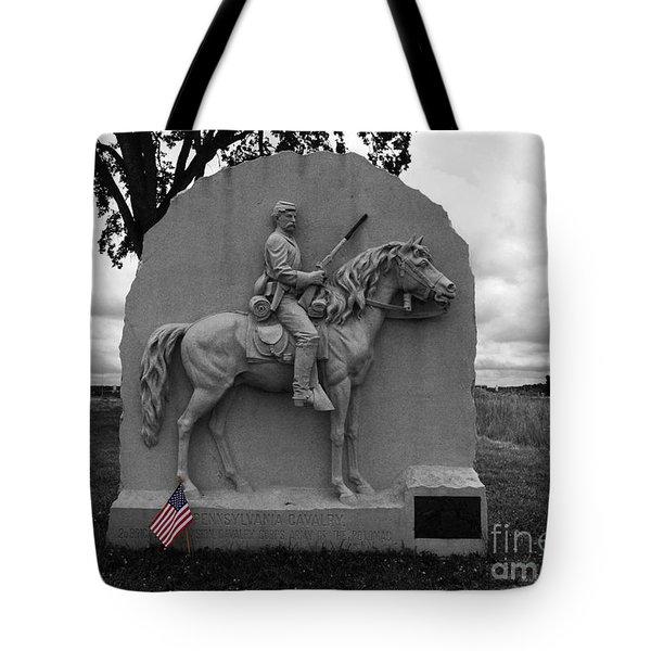 17th Pennsylvania Cavalry Monument Gettysburg Tote Bag by James Brunker