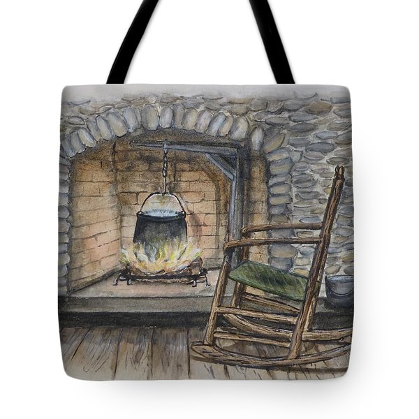 1800s Cozy Cooking .... Fire Place Tote Bag by Kelly Mills