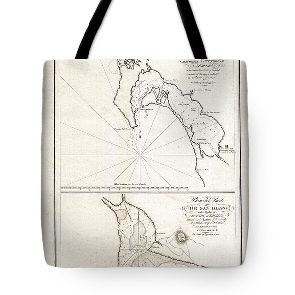 1825 Victoria Map Of San Diego California And San Blas Mexico  Tote Bag by Paul Fearn