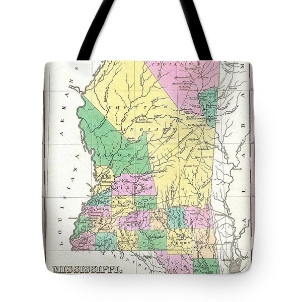 1827 Finley Map Of Mississippi Tote Bag