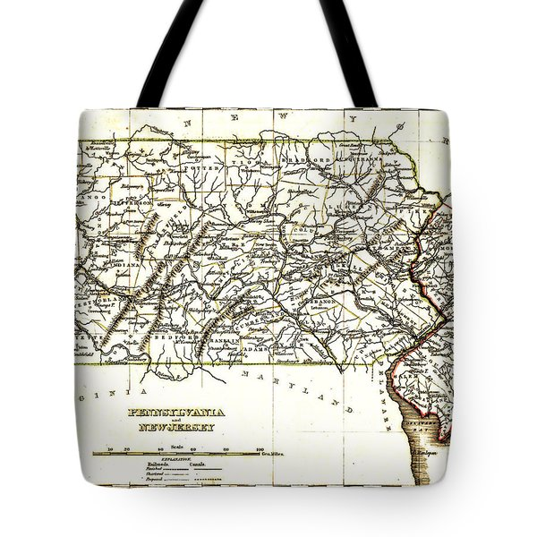 1835 Pennsylvania And New Jersey Map Tote Bag by Bill Cannon