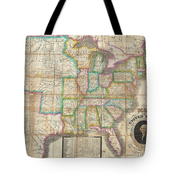 1835 Webster Map Of The United States Tote Bag by Paul Fearn