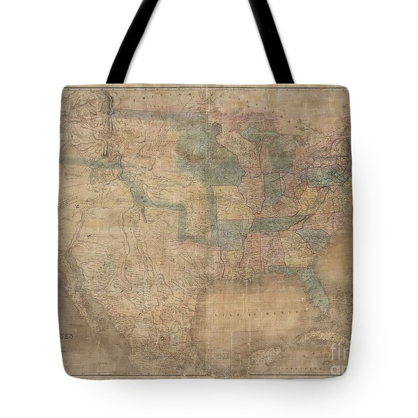 1839 Burr Wall Map Of The United States  Tote Bag