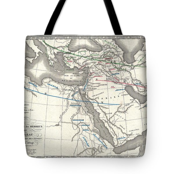 1839 Monin Map Of The Hebrew Peoples Dispersal After The Flood Tote Bag by Paul Fearn