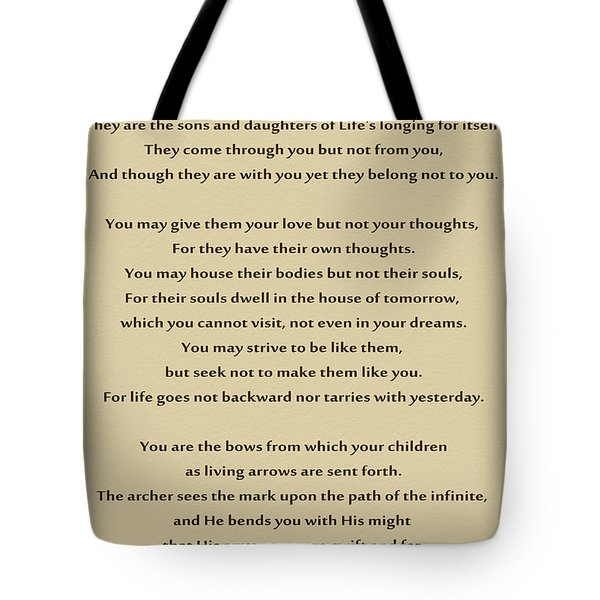 184- Kahlil Gibran - On Children Tote Bag by Joseph Keane