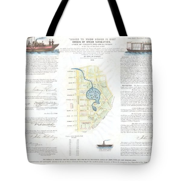 1846 Broadside Of The Collect Pond New York And Steam Boat  Five Points   Tote Bag