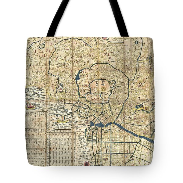 1849 Japanese Map Of Edo Or Tokyo Tote Bag by Paul Fearn