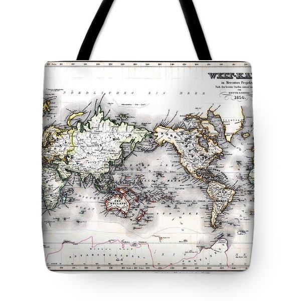 Tote Bag featuring the photograph 1850 Antique World Map Welt Karte In Mercators Projektion by Karon Melillo DeVega