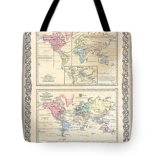Tote Bag featuring the photograph 1855 Antique First Plate Ortelius World Map Animal Kingdom World Commerce And Navigation by Karon Melillo DeVega